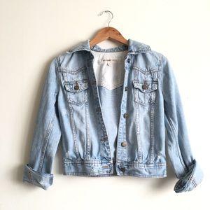 MOSSIMO Vintage Style Distressed Denim Jean Jacket